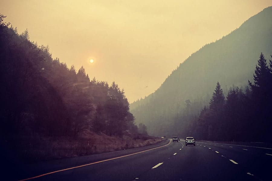 Driving conditions in wildfire smoke in Washington